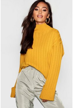 Mustard yellow Petite Rib Knit High Neck Jumper