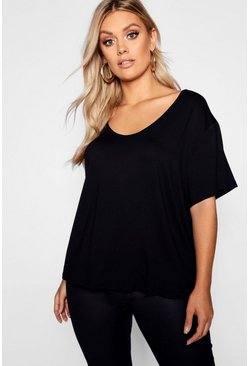 Plus t-shirt basic oversize super morbida, Nero