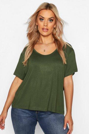 Khaki Green Plus Super Soft Oversized Basic T-Shirt