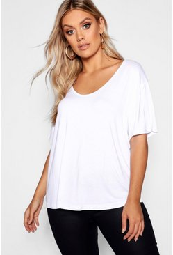 White Plus Super Soft Oversized Basic T-Shirt