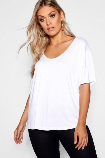 White Plus Super Soft Oversized Basic T-Shirt