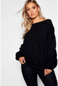 Black Plus Slash Neck Balloon Sleeve Sweat Sweater