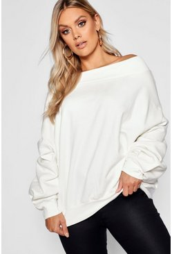 Ecru white Plus Slash Neck Balloon Sleeve Sweat Sweater