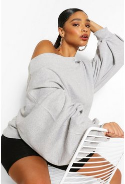 Grey marl grey Plus Slash Neck Balloon Sleeve Sweat Sweater