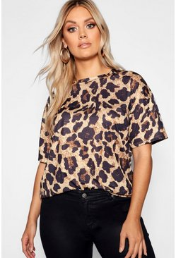 Brown brun Plus - Oversize t-shirt med leopardmönster