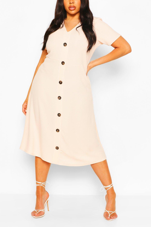 Plus Button Front Midi Dress 4