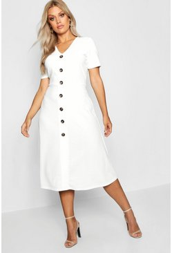 Ivory Plus Button Front Midi Dress