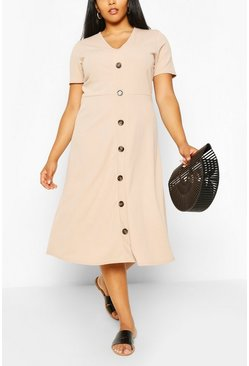 Stone Plus Button Front Midi Dress