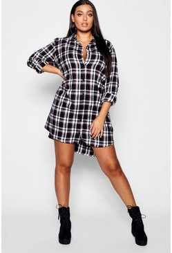 Black Plus Checked Oversized Shirt Dress