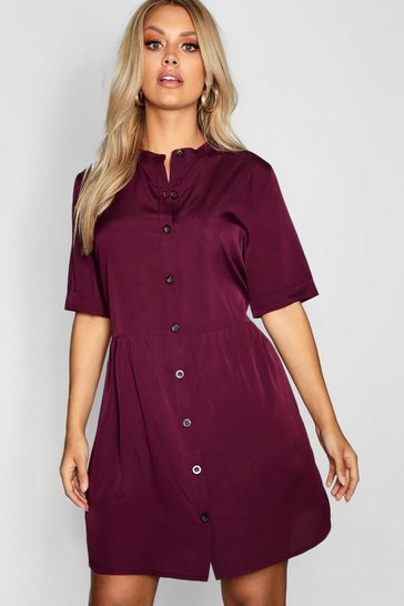 Berry red Plus Button Front Smock Dress