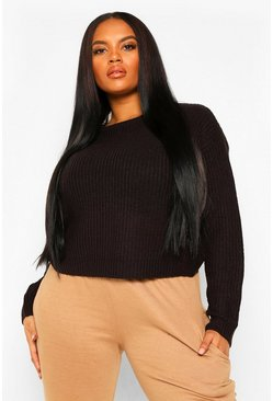 Black Plus Crew Neck Fisherman Rib Jumper