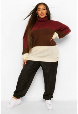 Mulberry red Plus Colour Block Roll Neck Raglan Jumper