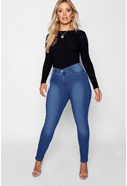 Mid blue blue Plus Super High Waisted Power Stretch Jeans