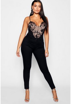 Black Plus Super High Waisted Power Stretch Skinny Jeans