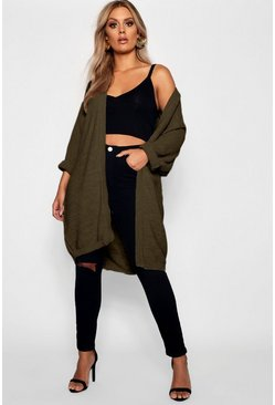 Khaki Plus Cocoon Oversized Rib Knit Cardigan