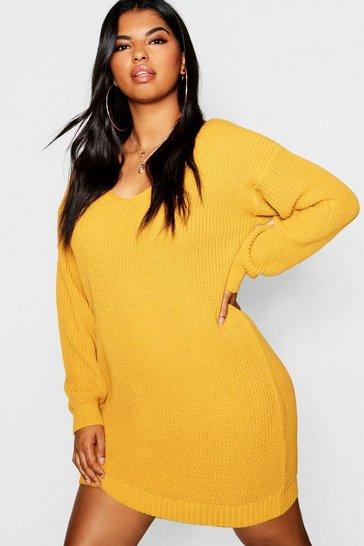 Mustard yellow Plus Bella V Neck Jumper Mini Dress