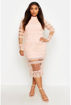 Blush pink Plus Lace Panelled Midi Dress