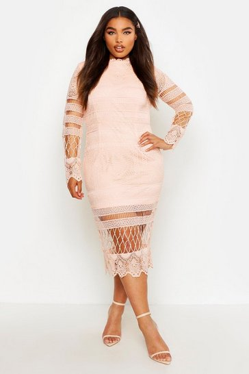 Blush Plus Lace Panelled Midi Dress