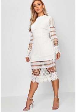 Ivory Plus Lace Panelled Midi Dress