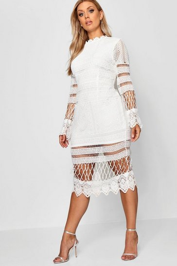 Ivory white Plus Lace Panelled Midi Dress
