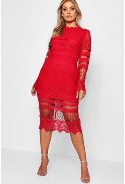 Red Plus Lace Panelled Midi Dress