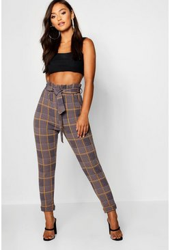 Grey Petite Dogtooth Check Belted Trouser