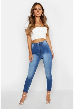 Mid blue blue Petite Super High Waisted Power Stretch Skinny Jeans
