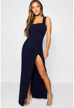 Navy Petite Square Neck Split Maxi Dress