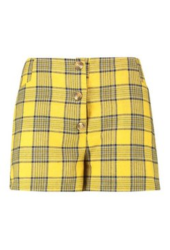 Mustard Plus Horn Button Check Print Short