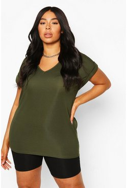 Khaki Plus Basic Rib Oversized T-Shirt