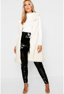 Cream white Plus Shaggy Faux Fur Gilet