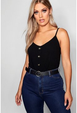 Black Plus Ribbed Button Cami