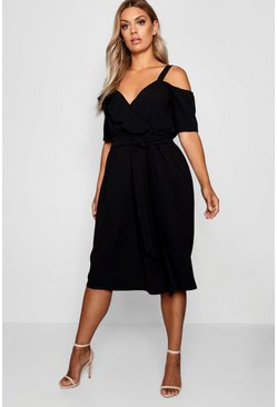 Black Plus Plunge Ruffle Belt Midi Dress