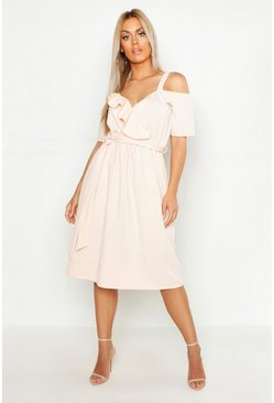 Blush pink Plus Plunge Ruffle Belt Midi Dress