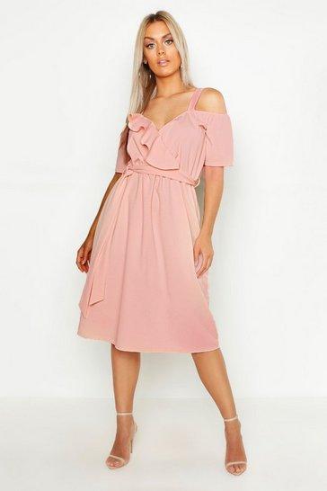 Blush pink Plus Plunge Ruffle Belt Midi Dress
