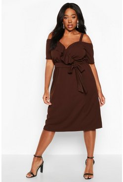 Chocolate brown Plus Plunge Ruffle Belt Midi Dress