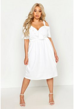 Ivory white Plus Plunge Ruffle Belt Midi Dress