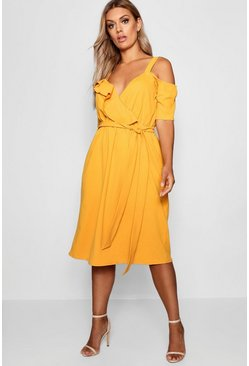 Mustard yellow Plus Plunge Ruffle Belt Midi Dress