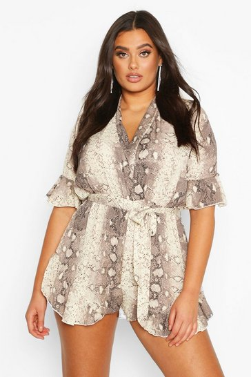 Stone beige Plus Snake Print Ruffle Wrap Playsuit