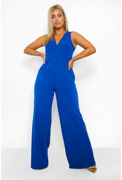 Cobalt blue Plus Plunge Wide Leg Jumpsuit