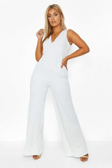 Ivory white Plus Plunge Wide Leg Jumpsuit
