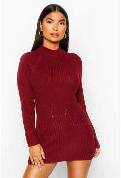 Berry red Petite Ribbed Knitted Jumper Dress