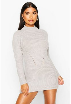 Grey Petite Ribbed Knitted Jumper Dress