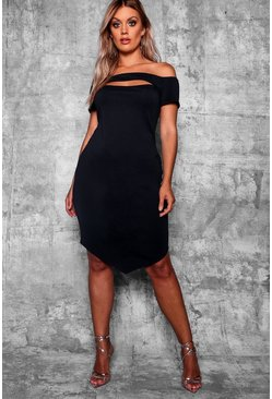 Black Plus Bardot Bodycon Midi Dress
