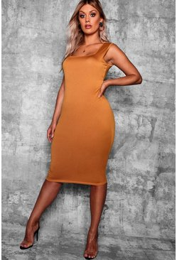 Mustard yellow Plus Longline Square Neck Midi Dress