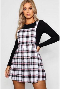 Ivory white Plus Checked Pinafore Dress