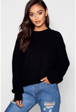 Black Petite Ivy Oversized Jumper