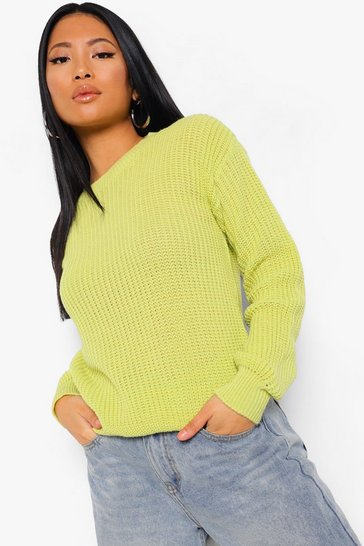 Chartreuse yellow Petite Ivy Oversized Jumper