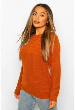 Petite - Pull oversize, Rust orange