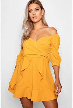 Mustard Plus Off The Shoulder Ruffle Skater Dress